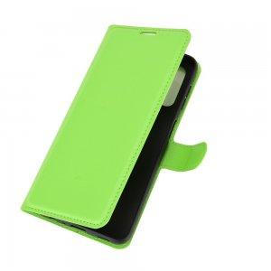 Чехол книжка для Samsung Galaxy A32 отделения для карт и подставка Зеленый