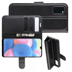 Чехол книжка для Samsung Galaxy A41 отделения для карт и подставка Черный