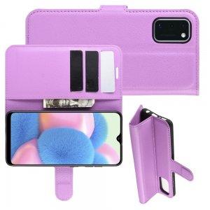 Чехол книжка для Samsung Galaxy A41 отделения для карт и подставка Фиолетовый