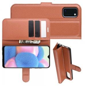 Чехол книжка для Samsung Galaxy A41 отделения для карт и подставка Коричневый