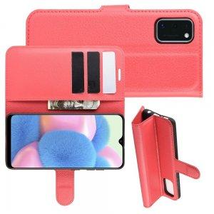 Чехол книжка для Samsung Galaxy A41 отделения для карт и подставка Красный