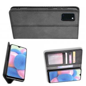 Чехол книжка для Samsung Galaxy A41 с магнитом и отделением для карты - Черный