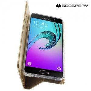 Чехол книжка для Samsung Galaxy A5 2016 SM-A510F MERCURY GOOSPERY Blue Moon - Золотой