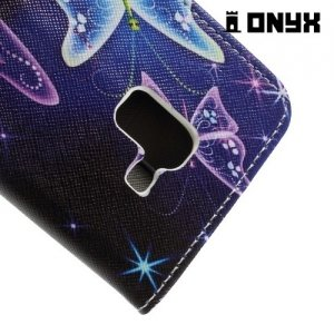 Чехол книжка для Samsung Galaxy A5 2018 SM-A530F - Бабочки на чёрном