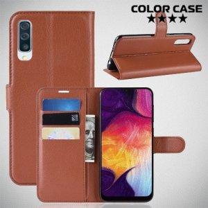 Чехол книжка для Samsung Galaxy A50 / A30s - Коричневый