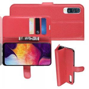 Чехол книжка для Samsung Galaxy A50 / A30s отделения для карт и подставка Красный