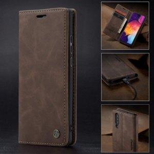 Чехол книжка CaseMe для Samsung Galaxy A50 / A30s с скрытой магнитной застежкой - Коричневый