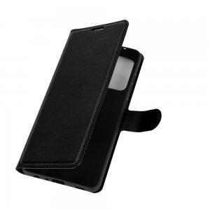 Чехол книжка для Samsung Galaxy A52 отделения для карт и подставка Черный