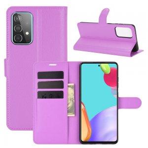 Чехол книжка для Samsung Galaxy A52 отделения для карт и подставка Фиолетовый