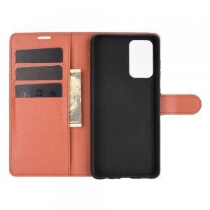 Чехол книжка для Samsung Galaxy A52 отделения для карт и подставка Коричневый