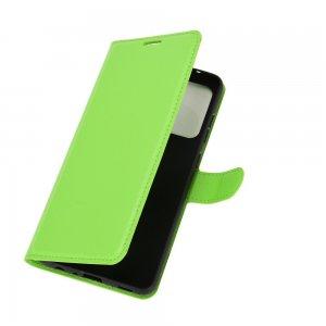 Чехол книжка для Samsung Galaxy A52 отделения для карт и подставка Зеленый