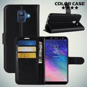 Чехол книжка для Samsung Galaxy A6 2018 SM-A600F - Черный