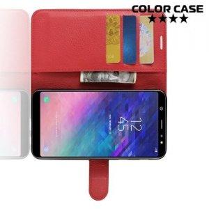 Чехол книжка для Samsung Galaxy A6 Plus 2018 - Красный