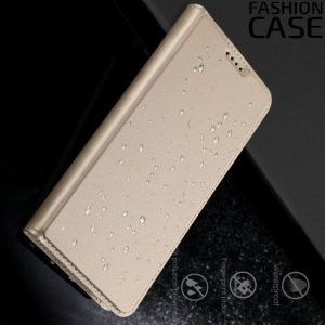 Чехол книжка для Samsung Galaxy A7 2018 SM-A730F с скрытой магнитной застежкой - Золотой