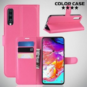 Чехол книжка для Samsung Galaxy A70 - Розовый