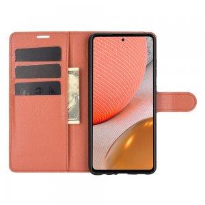 Чехол книжка для Samsung Galaxy A72 отделения для карт и подставка Коричневый