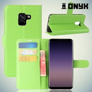 Чехол книжка для Samsung Galaxy A8 2018 - Зеленый