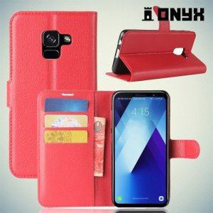 Чехол книжка для Samsung Galaxy A8 Plus 2018 - Красный