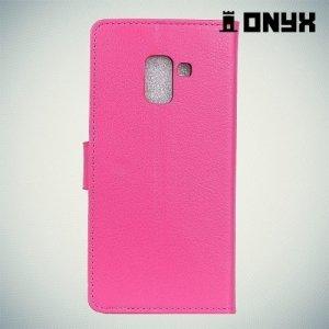 Чехол книжка для Samsung Galaxy A8 Plus 2018 - Розовый