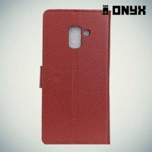 Чехол книжка для Samsung Galaxy A8 Plus 2018 - Коричневый