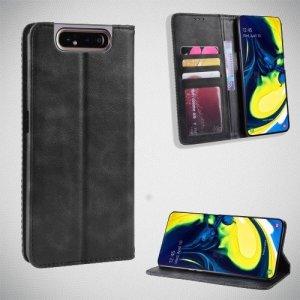 Чехол книжка для Samsung Galaxy A80 / A90 с магнитом и отделением для карты - Черный