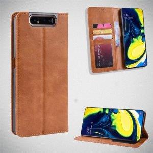 Чехол книжка для Samsung Galaxy A80 / A90 с магнитом и отделением для карты - Коричневый