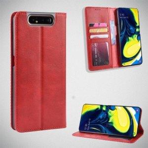 Чехол книжка для Samsung Galaxy A80 / A90 с магнитом и отделением для карты - Красный