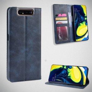 Чехол книжка для Samsung Galaxy A80 / A90 с магнитом и отделением для карты - Синий