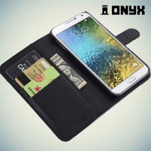 Чехол книжка для Samsung Galaxy E7 - Черный
