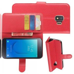 Чехол книжка для Samsung Galaxy J2 Core (2020) отделения для карт и подставка Красный