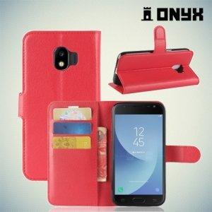 Чехол книжка для Samsung Galaxy J2 (2018) SM-J250F - Красный