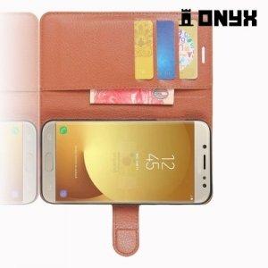 Чехол книжка для Samsung Galaxy J7 2017 - Коричневый