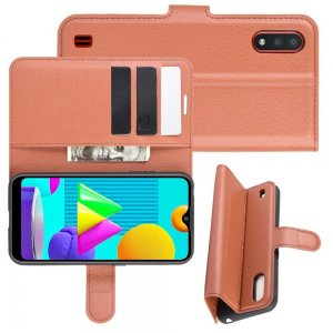 Чехол книжка для Samsung Galaxy M01 отделения для карт и подставка Коричневый