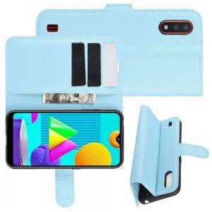 Чехол книжка для Samsung Galaxy M01 отделения для карт и подставка Синий