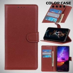 Чехол книжка для Samsung Galaxy M30 - Коричневый
