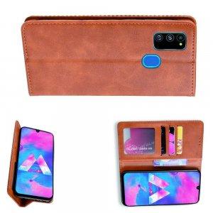 Чехол книжка для Samsung Galaxy M30s с магнитом и отделением для карты - Коричневый