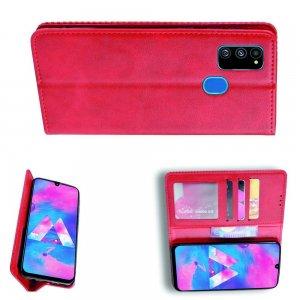 Чехол книжка для Samsung Galaxy M30s с магнитом и отделением для карты - Красный