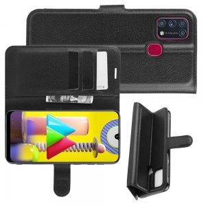Чехол книжка для Samsung Galaxy M31 отделения для карт и подставка Черный