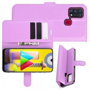 Чехол книжка для Samsung Galaxy M31 отделения для карт и подставка Фиолетовый