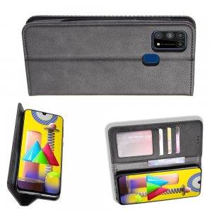 Чехол книжка для Samsung Galaxy M31 с магнитом и отделением для карты - Черный