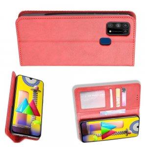 Чехол книжка для Samsung Galaxy M31 с магнитом и отделением для карты - Красный