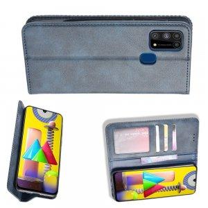 Чехол книжка для Samsung Galaxy M31 с магнитом и отделением для карты - Синий