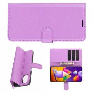 Чехол книжка для Samsung Galaxy M31s отделения для карт и подставка Фиолетовый