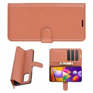Чехол книжка для Samsung Galaxy M31s отделения для карт и подставка Коричневый