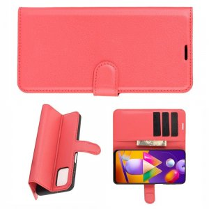 Чехол книжка для Samsung Galaxy M31s отделения для карт и подставка Красный