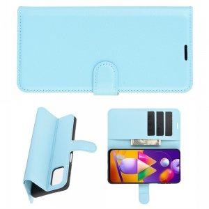 Чехол книжка для Samsung Galaxy M31s отделения для карт и подставка Синий