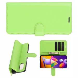 Чехол книжка для Samsung Galaxy M31s отделения для карт и подставка Зеленый