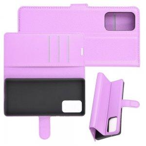 Чехол книжка для Samsung Galaxy Note 20 отделения для карт и подставка Фиолетовый