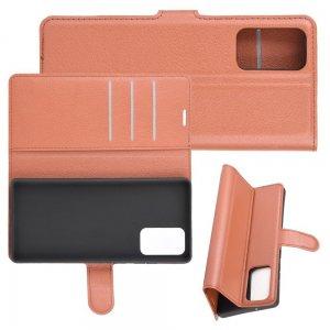 Чехол книжка для Samsung Galaxy Note 20 отделения для карт и подставка Коричневый