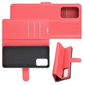 Чехол книжка для Samsung Galaxy Note 20 отделения для карт и подставка Красный